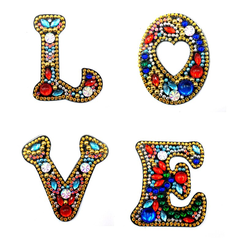 5D Diamond Painting Keychain letter Mosaic Handmade Art Rhinestones Stickers Full Diamond Cross Stitch Home Decoration