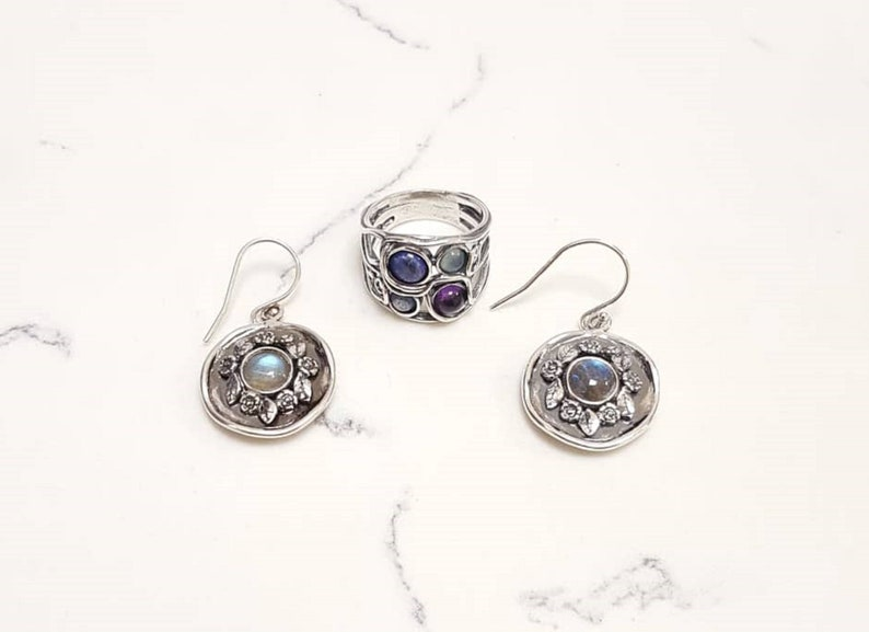 925 Sterling Silver Set-Paz Creations Ring and Earring Multi gemstone Set