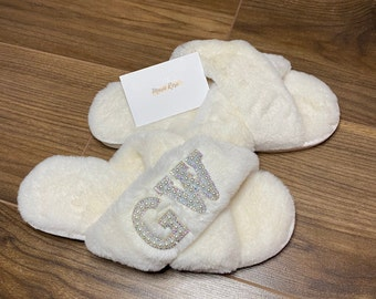 WHITE fluffy personalised slippers