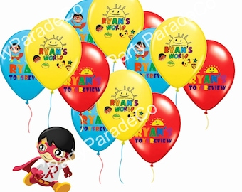 12 Pieces RYANS WORLD Birthday Party Latex Balloons Set