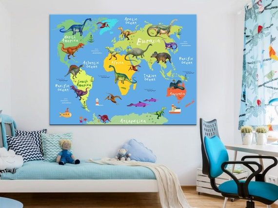 dinosaurs world map for kids cartoon animal world maps etsy dinosaurs world map for kids cartoon animal world maps dinosaurs animal world map canvas dinosaur kid art dinosaur planet
