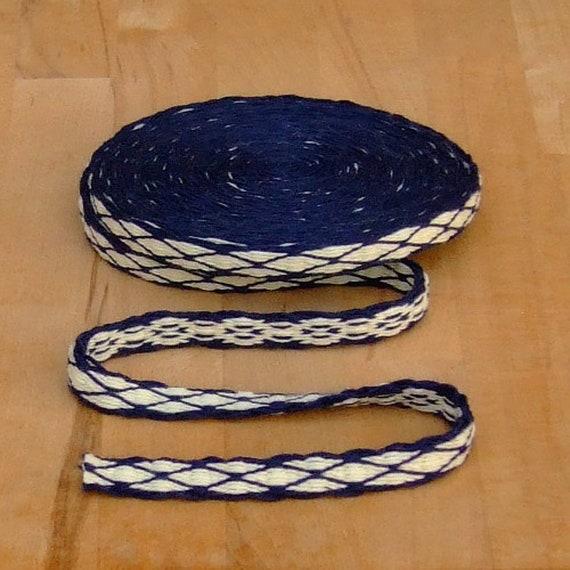 Board woven belt medieval reenactment LARP handwoven board bristle wool blue-natural