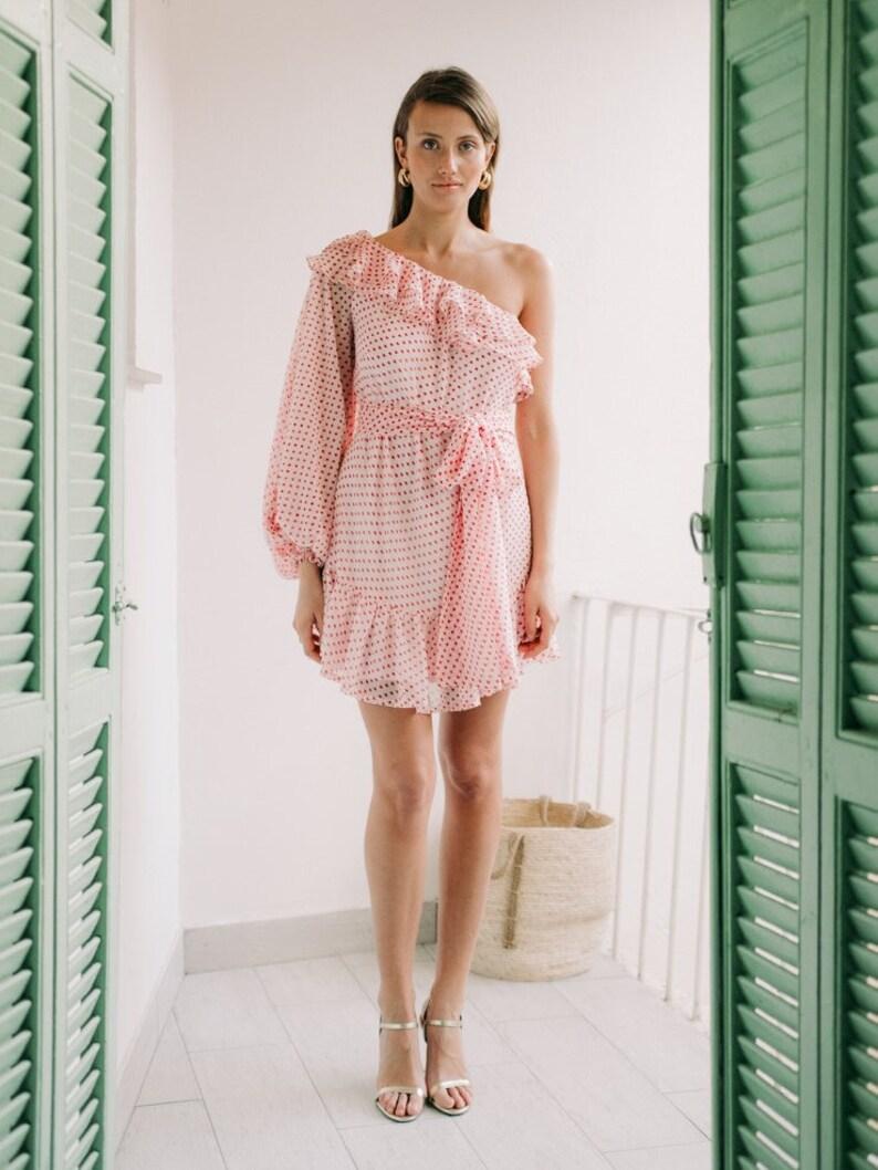 021ef6c1b85 Pink and Red Polka Dot One-Shoulder Puff Sleeve Mini Dress - Holiday Dress  - Honeymoon - Wedding Guest Dress - Bridesmaids Dress - Weddings