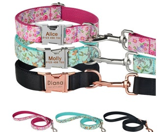 Personalized dog collar, collar and leash set, custom collar for dog, pup collar, dog collar girl, collar for small dogs
