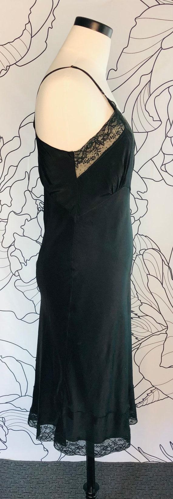 Circa 1940-50s Vintage Black Full Slip, Vintage T… - image 2