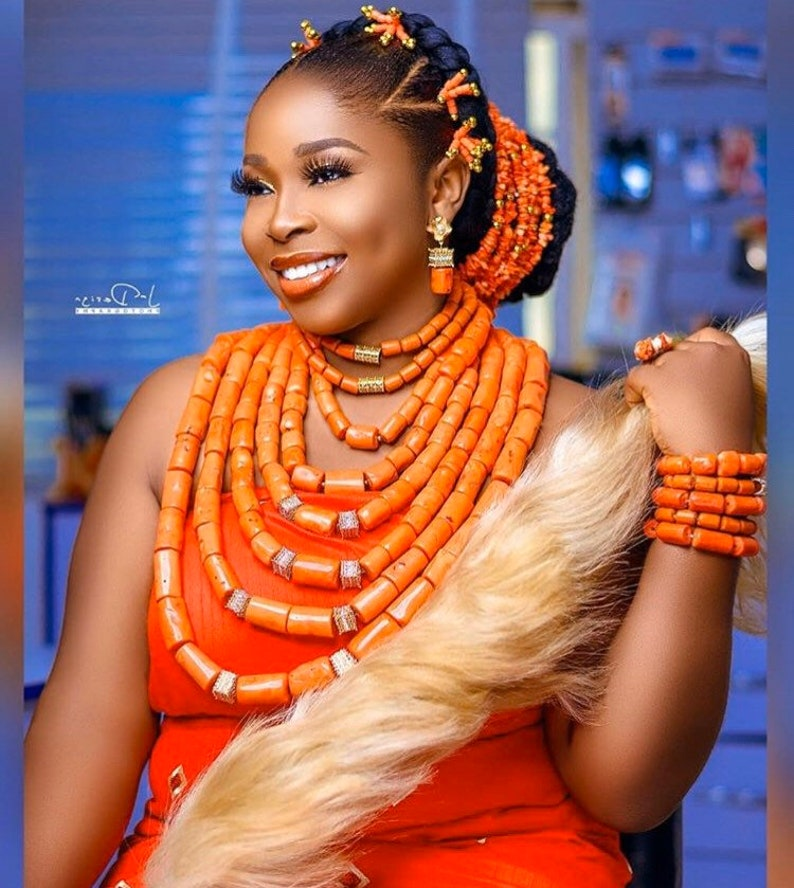 EdoIgbo Bride Coral Beads Set and Horsetail for African Nigerian Wedding