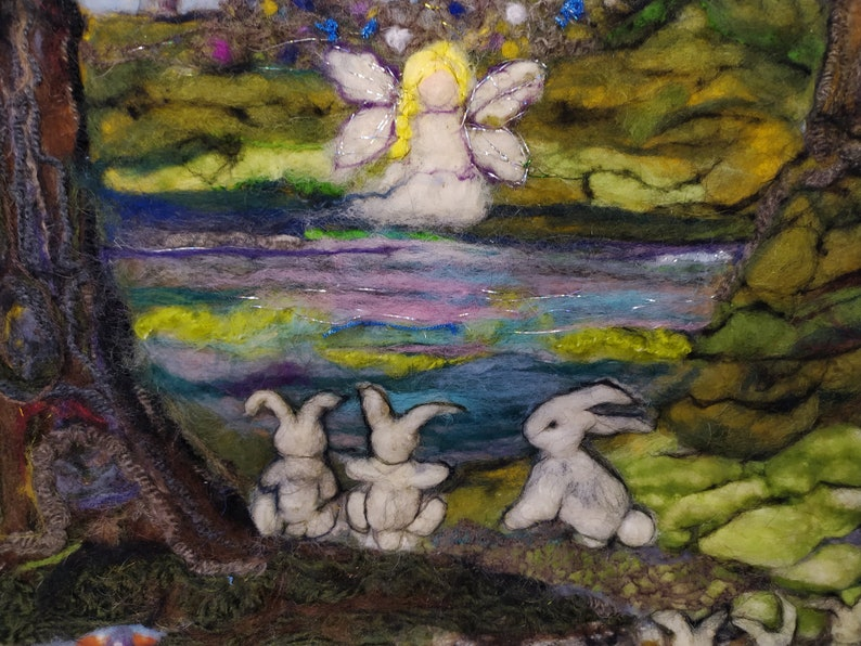 Wool Felted Needle Felt Art Painting Needle Felt Picture Moon Gazing Hare in Woodland- Embroidery Wall Art Easter Gift Fiber Art