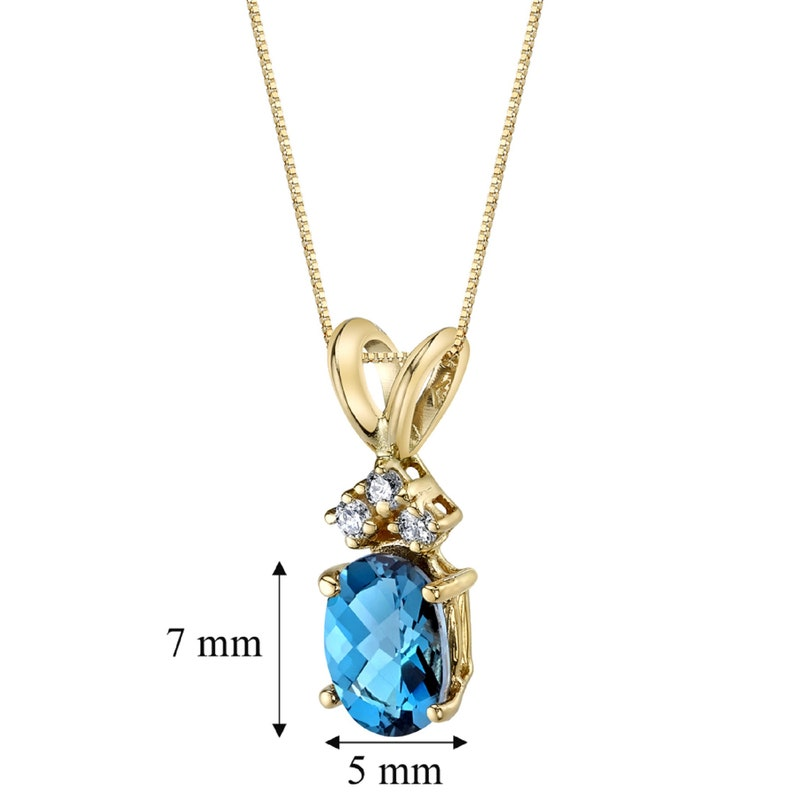 14 Karat Yellow Gold Oval Shape 1.00 Carats London Blue Topaz Diamond Pendant Mom Jewelry Necklace for Woman Layering