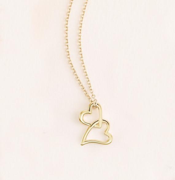14K White Gold Double Heart Chain Slide