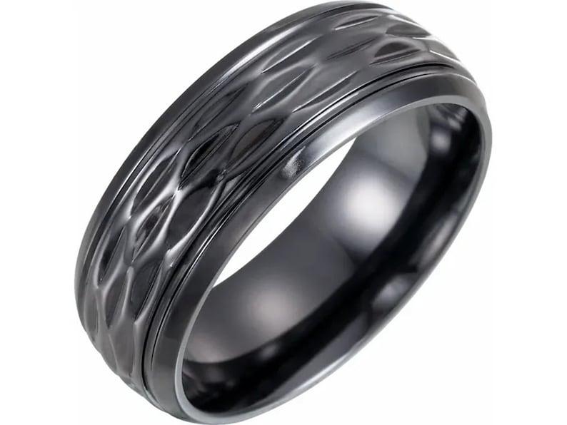 Black Titanium Patterned Band Size 10 Mens Ring Minimalist titanium ring Men/'s Wedding Band Wedding Band Ring Wedding Ring