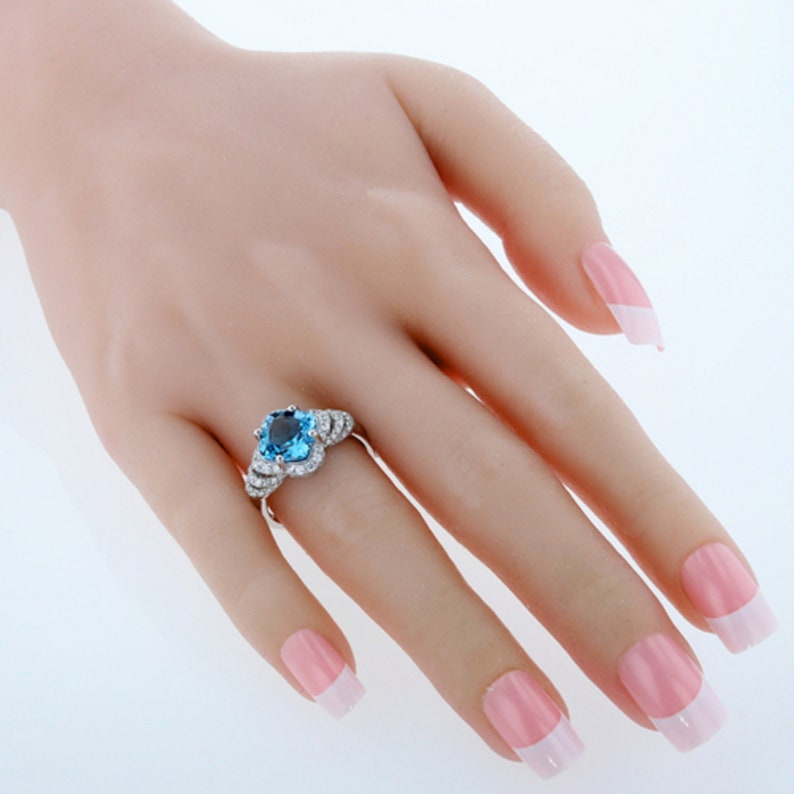 Engagement Ring 3.50 Carat Swiss Blue Topaz Sterling Silver Halo Ring Sizes 5 to 9 Gift for Her Eliana and Eli Jewelry