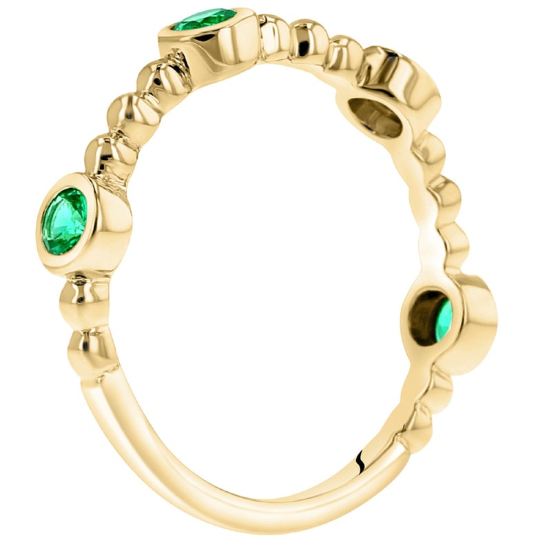 Stackable Simulated Emerald Yellow Tone Sterling Silver Ring Engagement Ring Gift for Her Eliana and Eli Jewelry Eliana and Eli Jewelry
