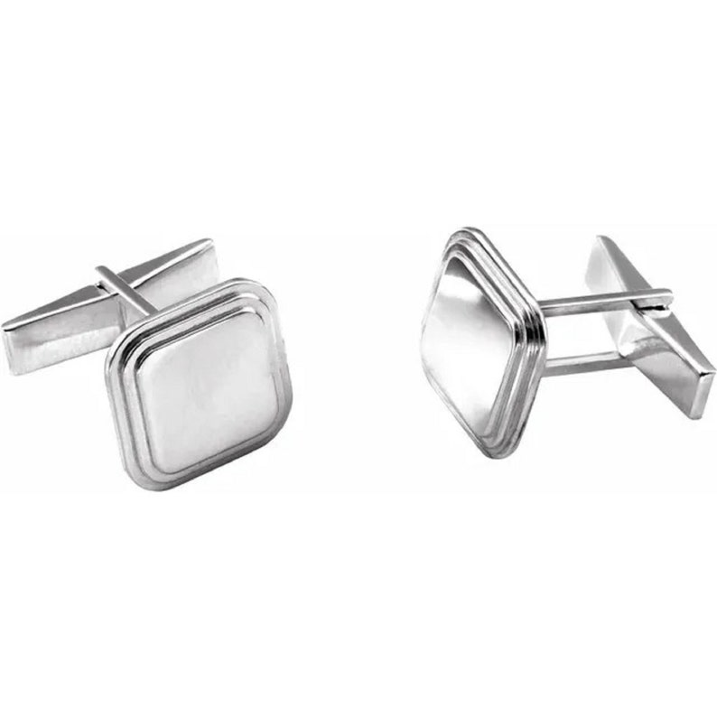 Engravable Cuff link Silver Cufflink Cuff Links for Dad Cufflink and Studs Silver Cufflink Gift for Her- Father gift
