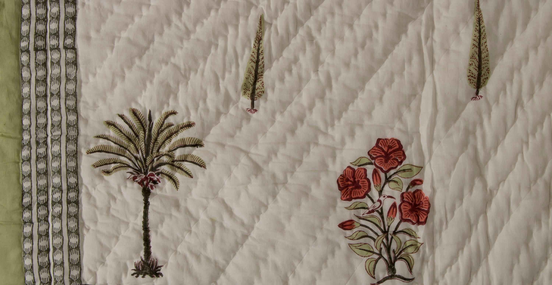 Quilt Comforter Imprimé palmier - Pochette florale imprimée en bloc avec bordure - Courtepointe florale - QUEEN SIZE 90» x 108»