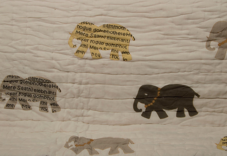 """Quilt Comforter- Imprimé éléphant imprimé bloc Quilt avec bordure - Floral Quilt - QUEEN SIZE 90» x 108""""réversible Couverture"""