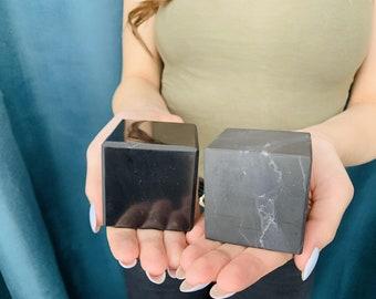 Set of 2 Shungite Cubes 50x50 mm (2x2 inches), Big Polished Shungite Cube, XL Shungite Cube, Pure Shungite Cube, Elite Shungite Cube