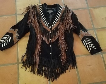 Women/'s Girl/'s Western Cowboy Cowgirl Natural Suede Leather Pierced and Laced Light Jacket XS With Appliques