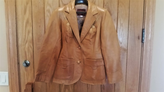 Womens Lucky Leather of LA Western Cowboy Cowgirl Calfskin Soft Brown Leather Jacket Blazer Light Cover up Boho NWT Size Medium