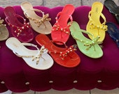 Jelly Sandals with Studded Bow