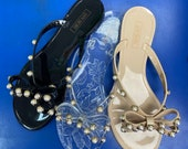 Jelly Sandals with Pearl Bow