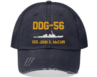 b92021f4 DDG-56 USS John S. McCain Embroidered Trucker Hat John McCain Country First  Memorial Day