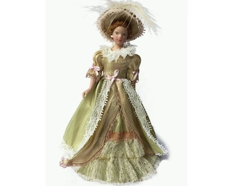 Victorian Miniature Lady Dollhouse Doll; 1:12 Scale Victorian Miniature Dollhouse Doll; Miniature Victorian Lady Dollhouse Doll with Stand