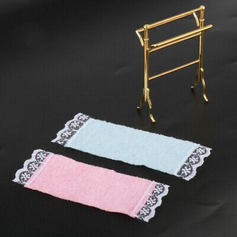 Miniature Dollhouse Brass Towel Rack; Miniature Dollhouse Bathroom Towel Rack; Miniature Towel Rack with Towels