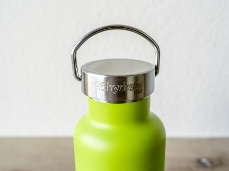 Double Walled Insulated Vacuum Flask Premium Lime Bottle Water 12oz BONUS Straw lid Stainless Steal
