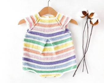 Gift for baby Cotton baby romper 0-6 months Knitted baby romper Macrame pacifier clip with rainbow