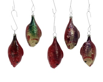 Christmas tree decorations - 5 colorful fish - wafer-thin glass (d. 13900)