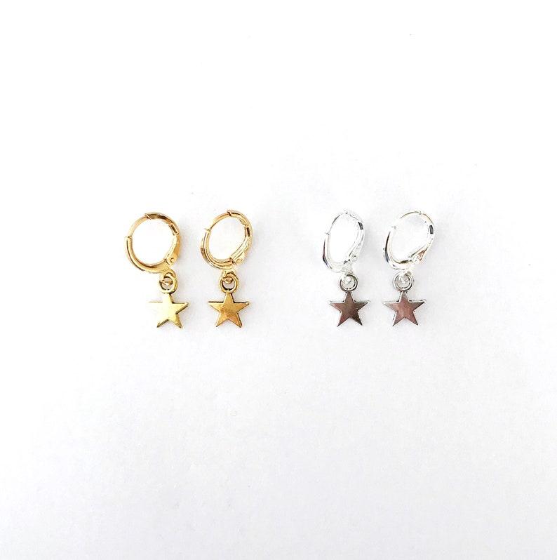 Star Huggie Hoop Earrings image 0
