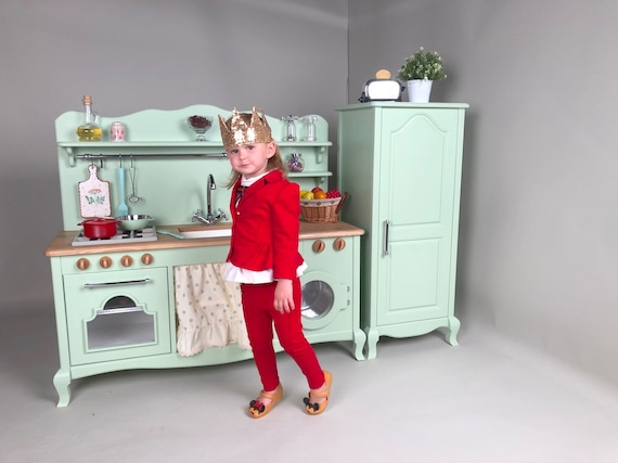 Kids Play Kitchen With Fridge Wooden And Cool