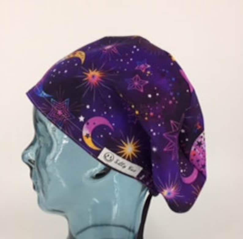 Divination Euro Modified Bouffant Scrub Hat Cap Purple Pink Blue Yellow Stars Moons Cosmos CRNA Nurse OR ERm ICU MedTech Dental FoodPrep