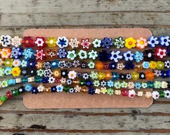 13mm Mix Matte Colors. 80 Acrylic Flower Beads