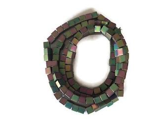 Rainbow Hematite Heart Pendant 35mm With Top Down Drill Hole HA01030