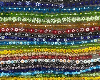 Beautiful Handmade Murano Millefiori Glass Bead Strands, Flower, Rainbow of Multi Colors, 4mm, 6mm and 8mm strands of Multicolor Flowers