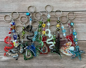 Handmade Millefiori Murano Key Chains, Mixed Animal Shapes, Mixed Color, Beautiful Large Keychain with Millefiori Beads and Murano Glass