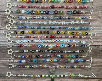"""Handmade Italian Murano Millefiori Flower & Evil Eye Anklets, Perfect for Summer, Multicolor with Seed Beads, 8"""",8.5"""",9"""",9.5"""", 10"""" Anklets"""
