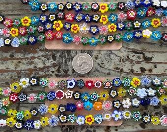 Handmade Murano Millefiori Glass Bead Strands, Flowers, Mixed Color, 2 sizes, Flower Shaped Millefiori Beads 10mm and 12mm