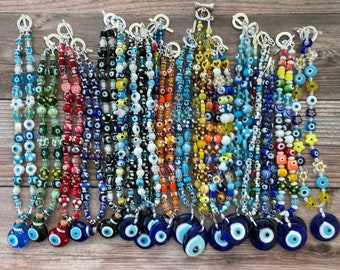 """Handmade Italian Murano Millefiori Evil Eye Glass Flower Chokers Multicolor 15"""",16"""" or 17"""" Choker Necklace, Perfect Eye Protection Necklaces"""