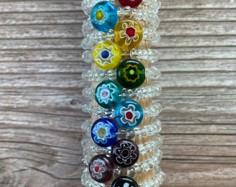 Millefiori Flower Clear Seed Bead Band with 8mm Center Millefiori Flower Beads