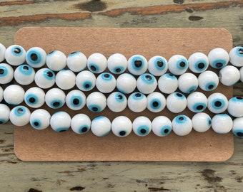 Beautiful Handmade Italian Murano Millefiori Evil Eye Glass Bead Strands, White with Bright Blue Eye Color Round 8mm