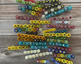 Handmade Millefiori Flowers Multicolor Beaded Hair Clips, Flower Barretts, Rainbow of Colors to Choose, Unique Hair Accessories
