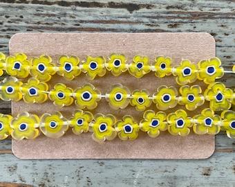 Handmade Murano Millefiori Glass Bead Strands, Flowers, Yellow Sunflowers, Flower Shaped Millefiori Sunflower Beads 10mm~12mm