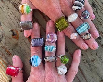 Handmade Italian Murano Glass Woman's Flower Wrap Silver Rings, Multicolor, Multi-size, Flower, Evil Eye Millefiori Statement Ring