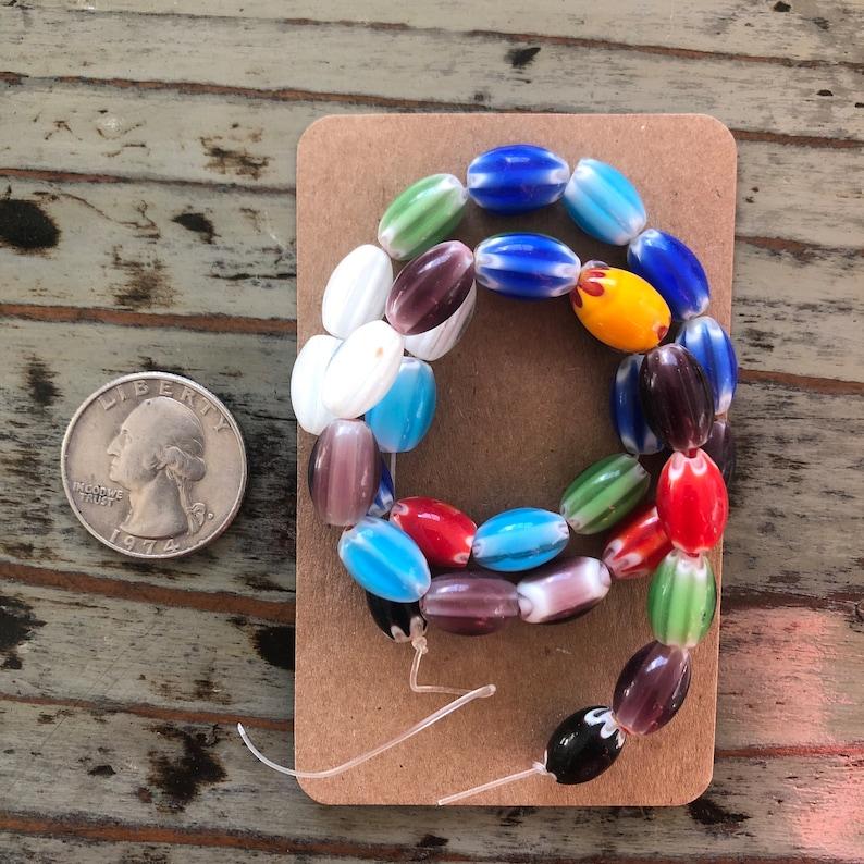 12mm Handmade Multicolor Thousand Flowers Oval Millefiori Glass Bead Strands