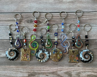 Handmade Millefiori Murano Key Chains, Mixed Shapes, Mixed Color, Beautiful Large Keychain with Millefiori Beads and Murano Glass