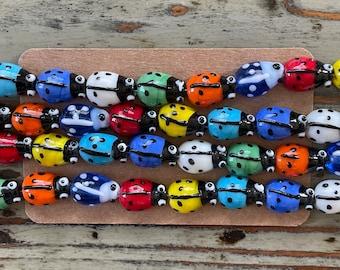 Handmade Murano Millefiori Glass Bead Strands, Ladybugs,Colorful, Ladybug Shaped Millefiori Brightly Multi Colored Beads 15mm