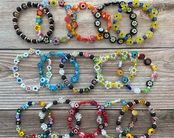 """Handmade Italian Murano Millefiori Stretchy Flower Bracelets, Perfect for Stacking, Multicolor with Seed Beads, 7"""" Bracelets Available"""