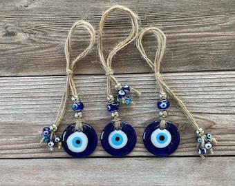 Large Glass Handmade Lampwork Evil Eye Pendant/Talisman, Flat Round, Dark Blue, 40mmx8mm, Talisman Wall/Car Hanging